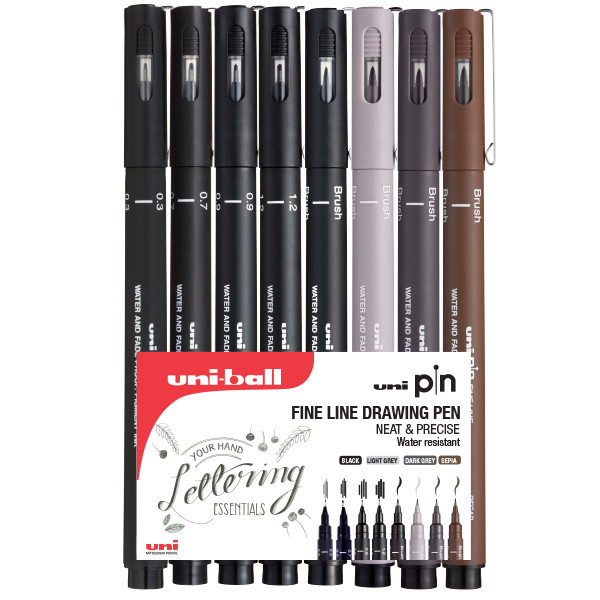 Uni PIN Drawing Pen Handwriting Set of 8