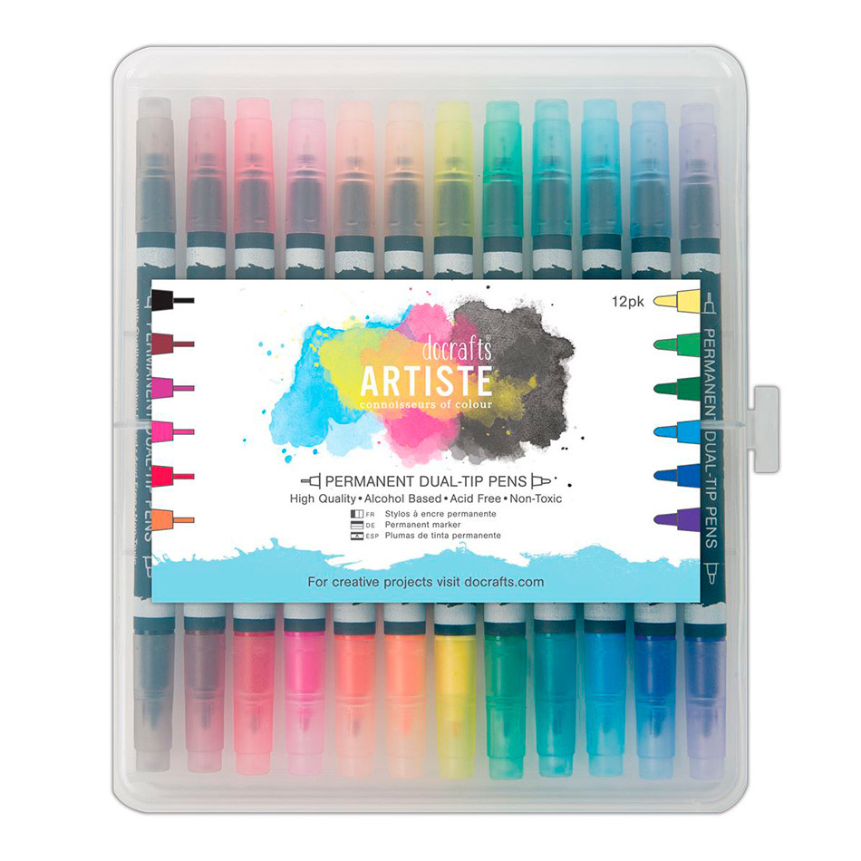 Docrafts Artiste Permanent Dual Tip Pens Set of 12 Thick & Thin