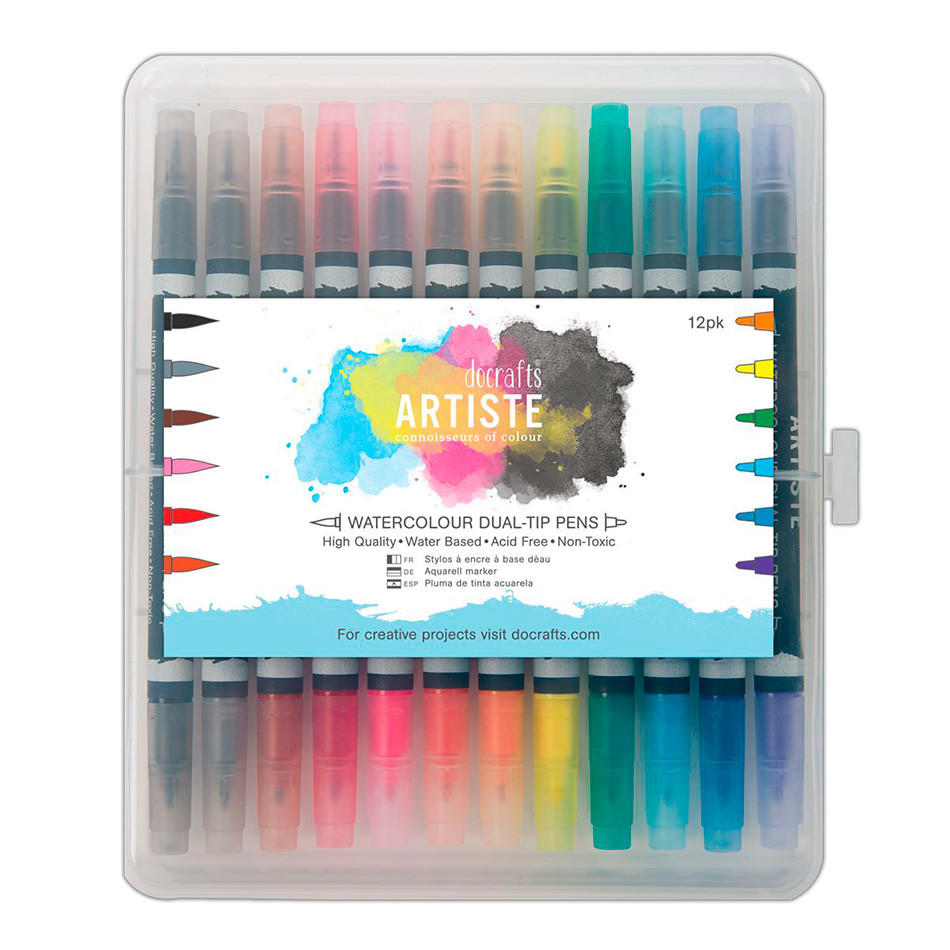 Docrafts Artiste Watercolour Dual Tip Pen Set of 12 Brush & Marker